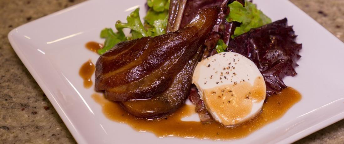 Black Cherry Poached Pear Salad